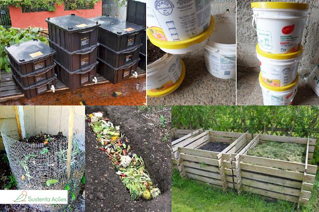 Minhocário, composteira, caixas de madeira, leiras, baldes de compostagem
