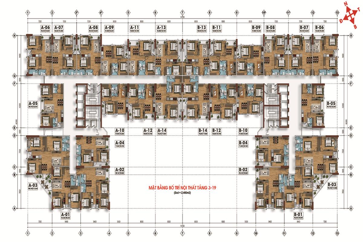 Mặt bằng tầng 3-19 dự án Tecco Skyville Tower
