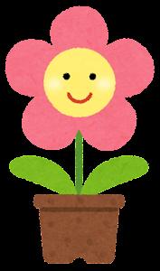 鉢植の花のキャラクター(ピンク)