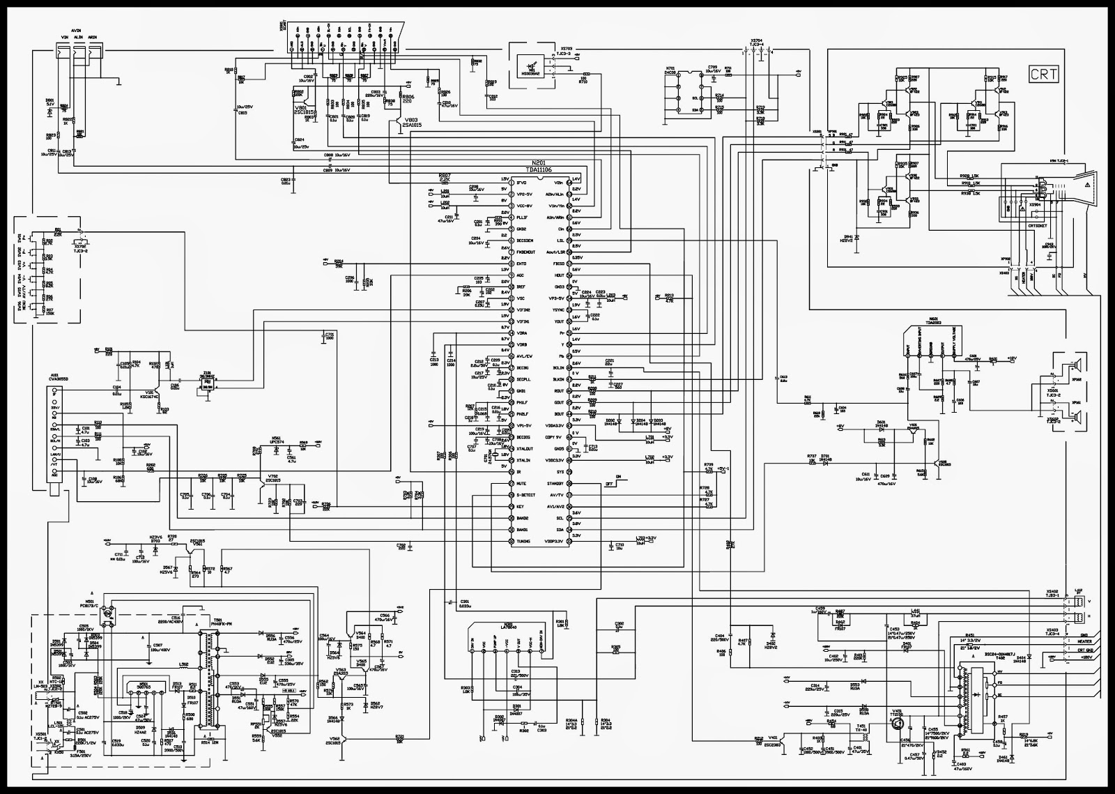 color tv circuit diagrams using ics tda11106 and tda8821 devant led tv schematic diagram