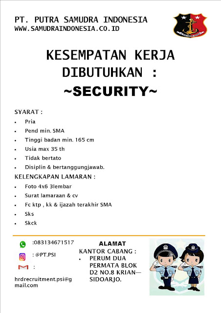 lowongan kerja security putra samudra indonesia surabaya