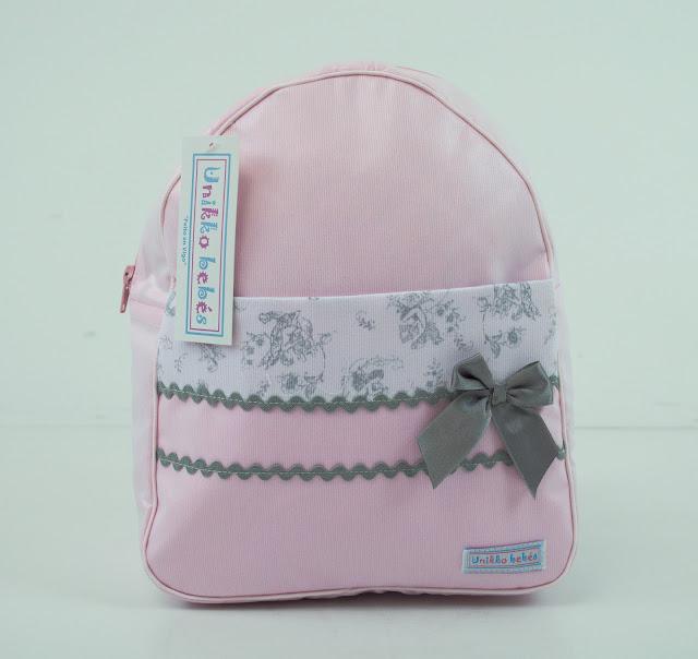 mochila colegio bebe rosa gris
