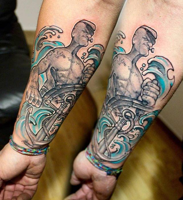 popeye forearm tattoo