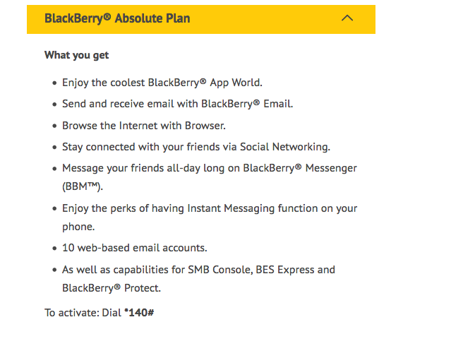MTN Blackberry subscription