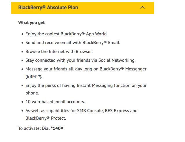MTN Blackberry subscription