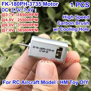 DC 3.7V 4.8V 6V 7.4V 38500RPM High Speed FK-180PH Carbon Brush 180 HM Motor DIY