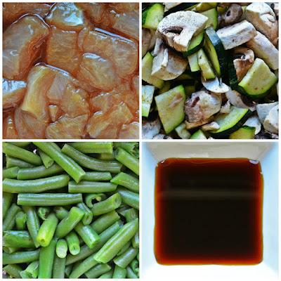 Kurczak z zielonymi warzywami w sosie teriyaki - składniki