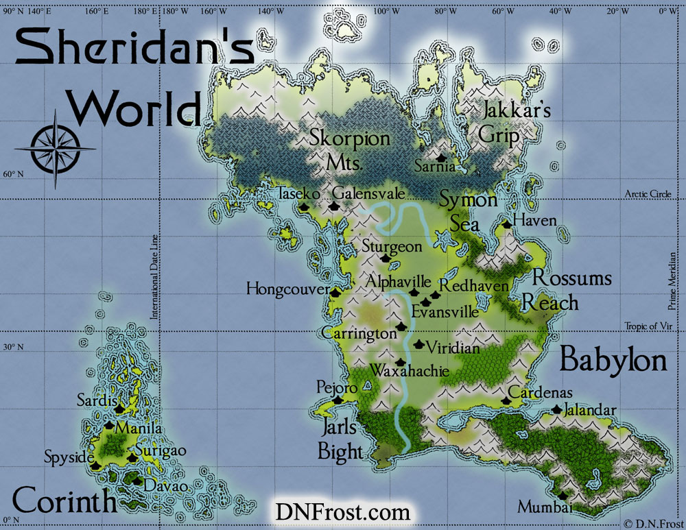Babylon of Sheridan's World: sci-fi planet of Stephen Everett http://www.dnfrost.com/2015/03/sheridans-world-map-commission.html A map commission by D.N.Frost for Stephen Everett @DNFrost13 Part 1 of a series.