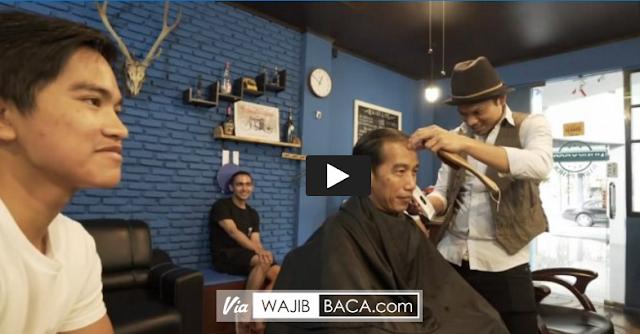 Video Percakapan Lucu Presiden Jokowi & Kaesang Ketika Pangkas Rambut