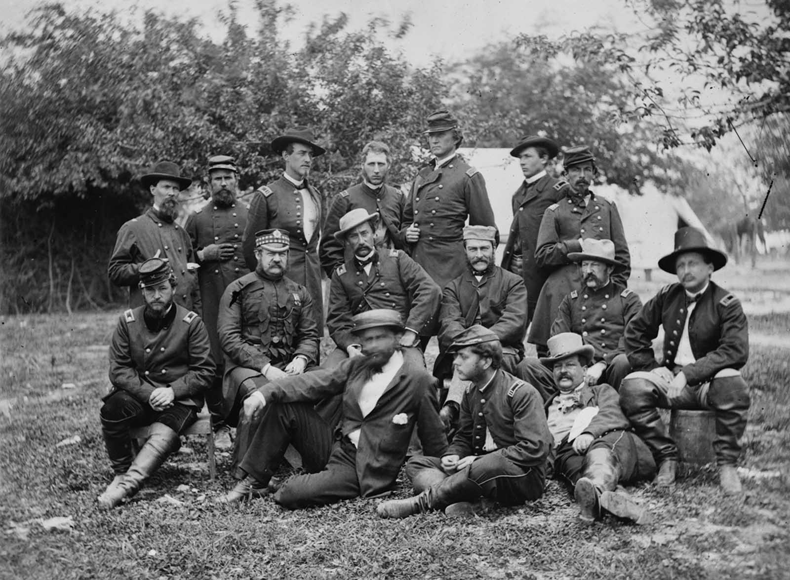 Lord (William) Abinger and a group of officers at headquarters, Army of the Potomac, near Falmouth, Virginia, in April of 1863.