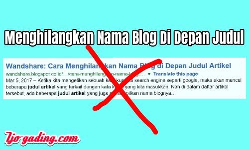 Menghilangkan Nama Blog Di Depan Judul Artikel