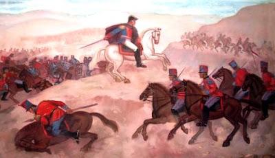 Ilustración de la Batalla de Junín en el campo de batalla