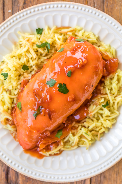 Catalina Chicken - only 4 ingredients!! No prep work! Just toss together and bake. SO easy!! Everyone LOVED this easy weeknight chicken dish. Easy to double the recipe for a crowd. Serve with rice, potatoes or noodles. A real crowd pleaser!
