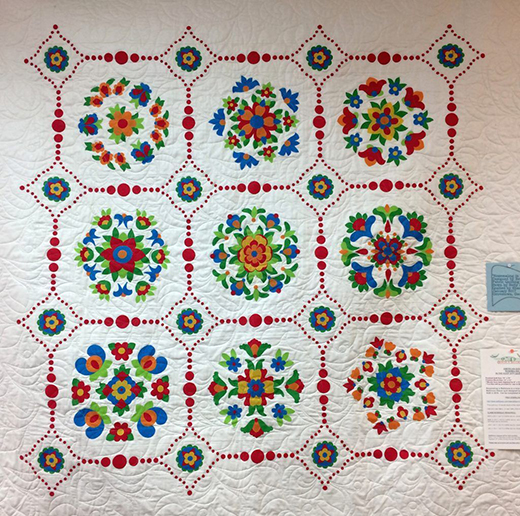Rosemaling in Baltimore Quilt Free Pattern designed By American Quilter's Society