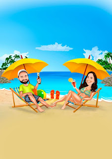 caricatura de casal na praia