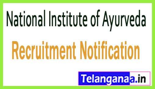 National Institute of Ayurveda NIA Recruitment