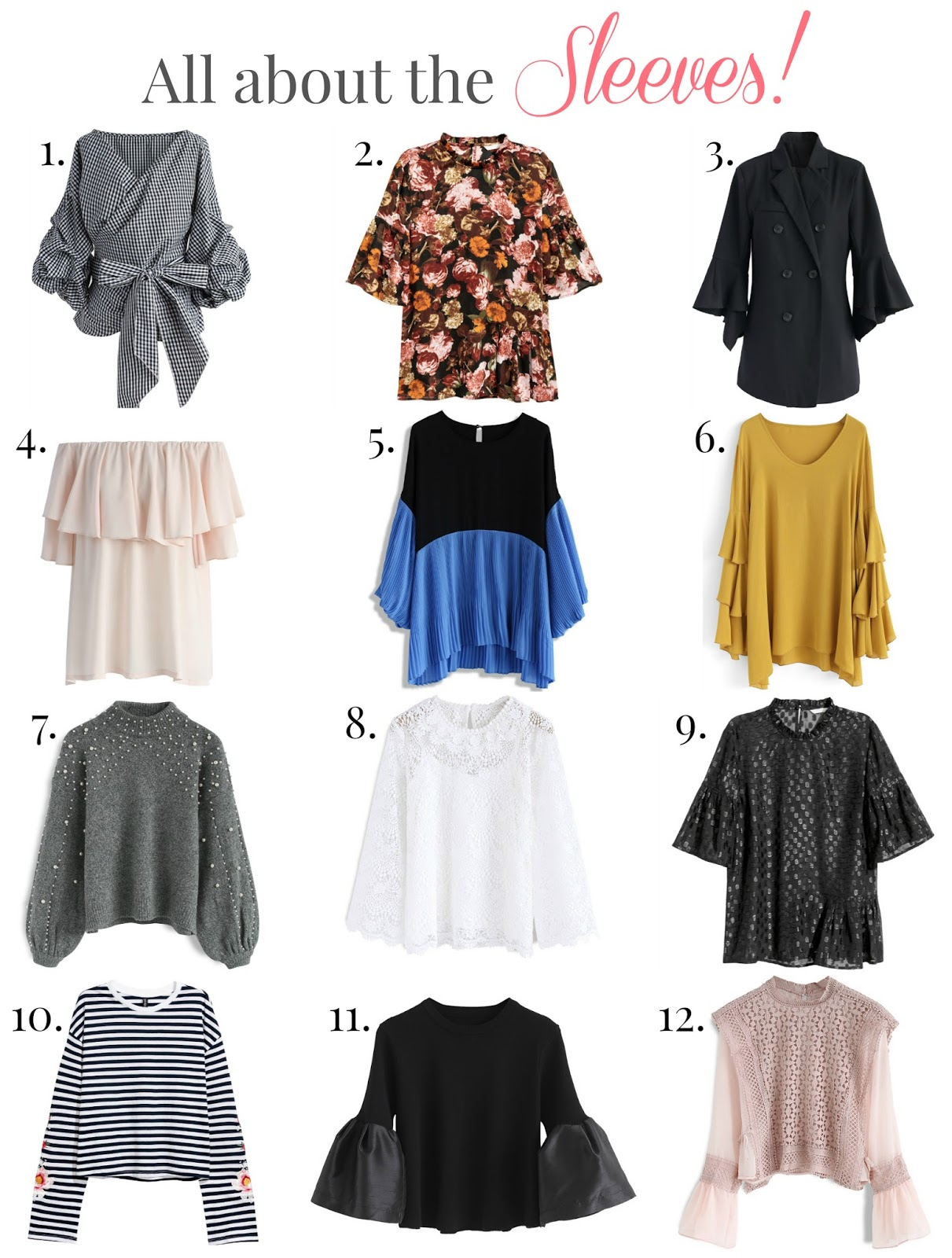 affordable frilly sleeved tops, frilly sleeved tops, belle sleeve tops, unique sleeves