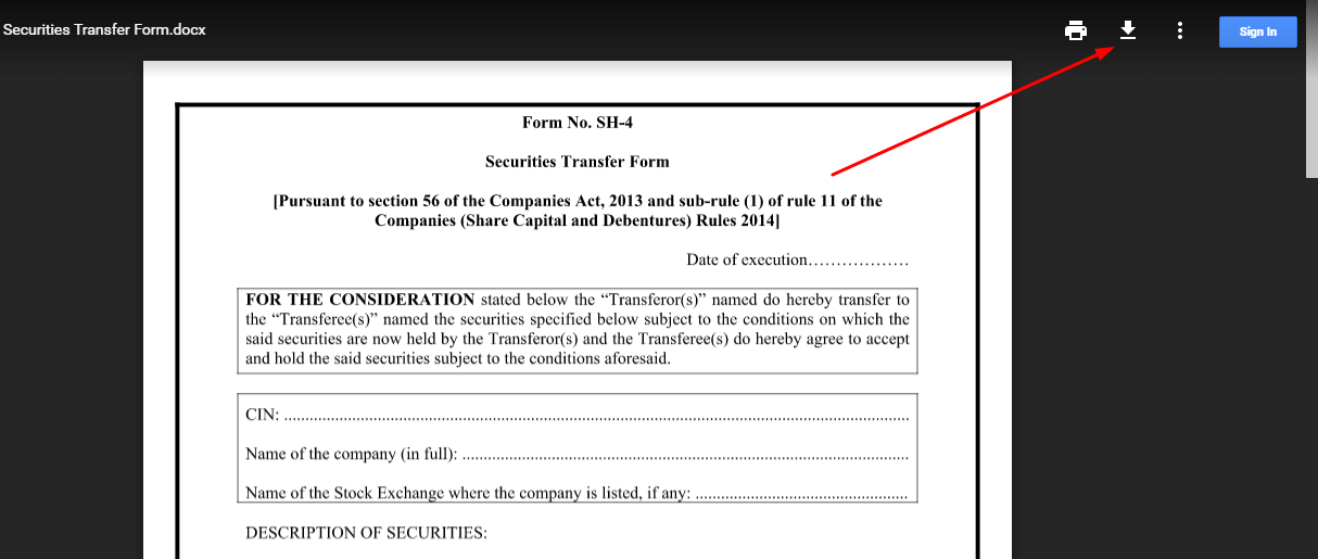 Sharesecurities transfer form form sh 4 in word format the red arrow mark shows the download button in the file at the above google drive link yadclub Image collections
