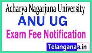 Acharya Nagarjuna University ANU UG Exam Fee Notification