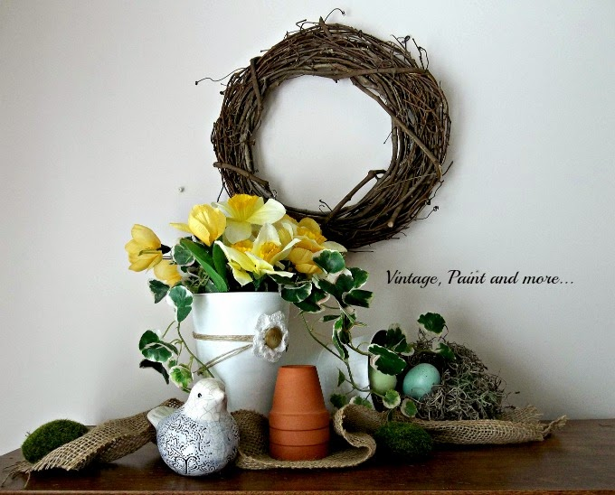 Spring Vignette - spring decor, faux bird nest, burlap ribbon