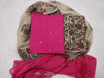 Hyderabadi block print cotton dress material. With mirror work top and chiffon dupatta.