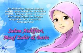 kartun animasi muslimah imut memberikan salam dengan bunga