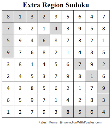 Extra Region Sudoku (Fun With Sudoku #65) Solution