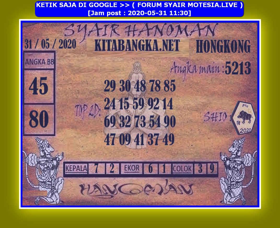 Kode syair Hongkong Minggu 31 Mei 2020 219