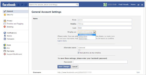 how to change display name on facebook