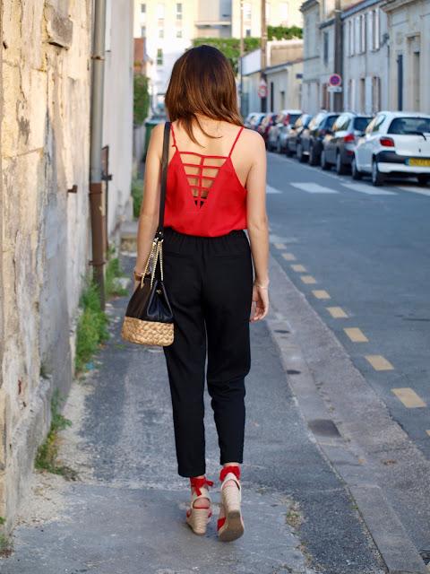 style look été rouge noir sac zara bicolor