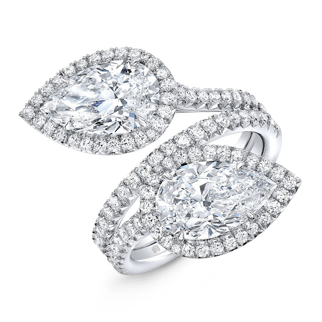 Forevermark by Rahaminov Two-Stone Pear Bypass Ring set in 18k White Gold