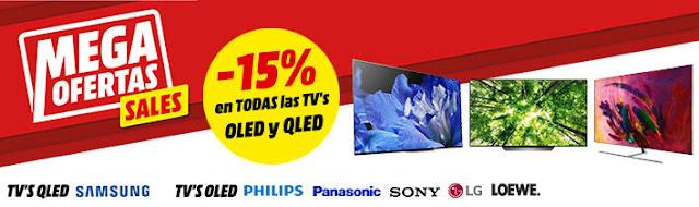 Top 5 ofertas -15% en todas las TVs OLED y QLED Media Markt