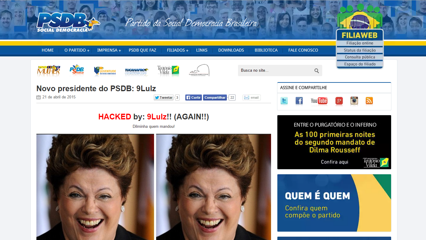 Site do PSDB é hackeado pela (ASOR Hack Team) - Anonymous