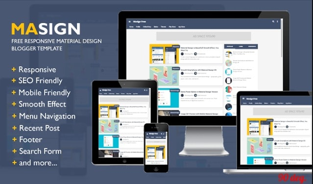 Masign Free Material Design Responsive Blogger Template
