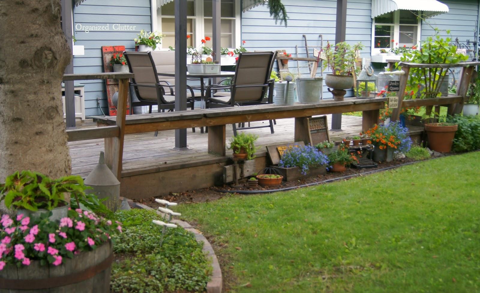 Deck Side Junk Garden www.organizedclutterqueen.blogspot.com