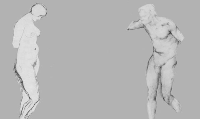 Nackter Mann und Frau Statuen