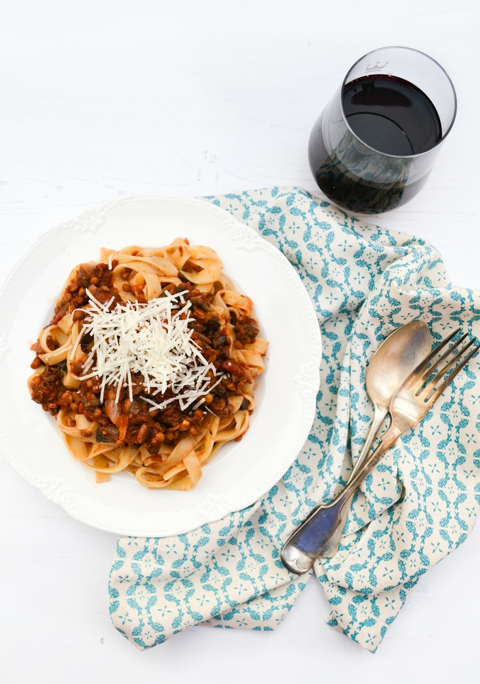 A bowl of Lentil and Mushroom Ragu on tagliatelle