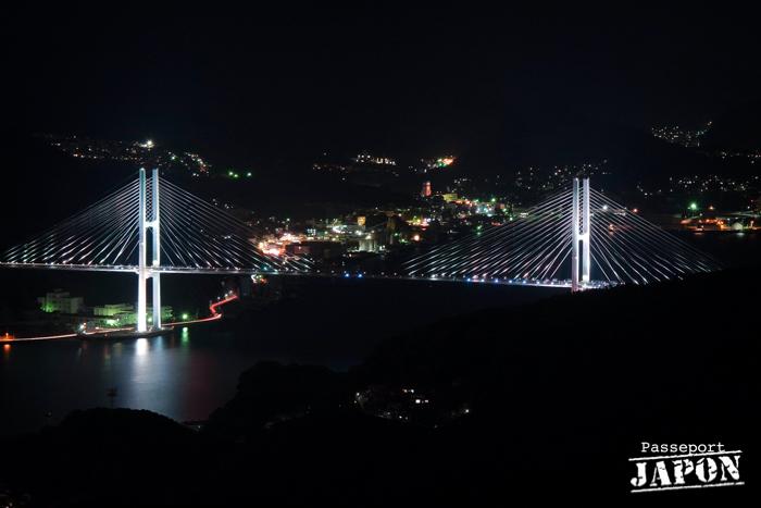 Pont, baie de Nagasaki nocturne, mont Inasa