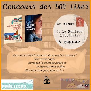 concours facebook 500 likes rentrée littéraire 2016 blog chroniques littéraires Préludes
