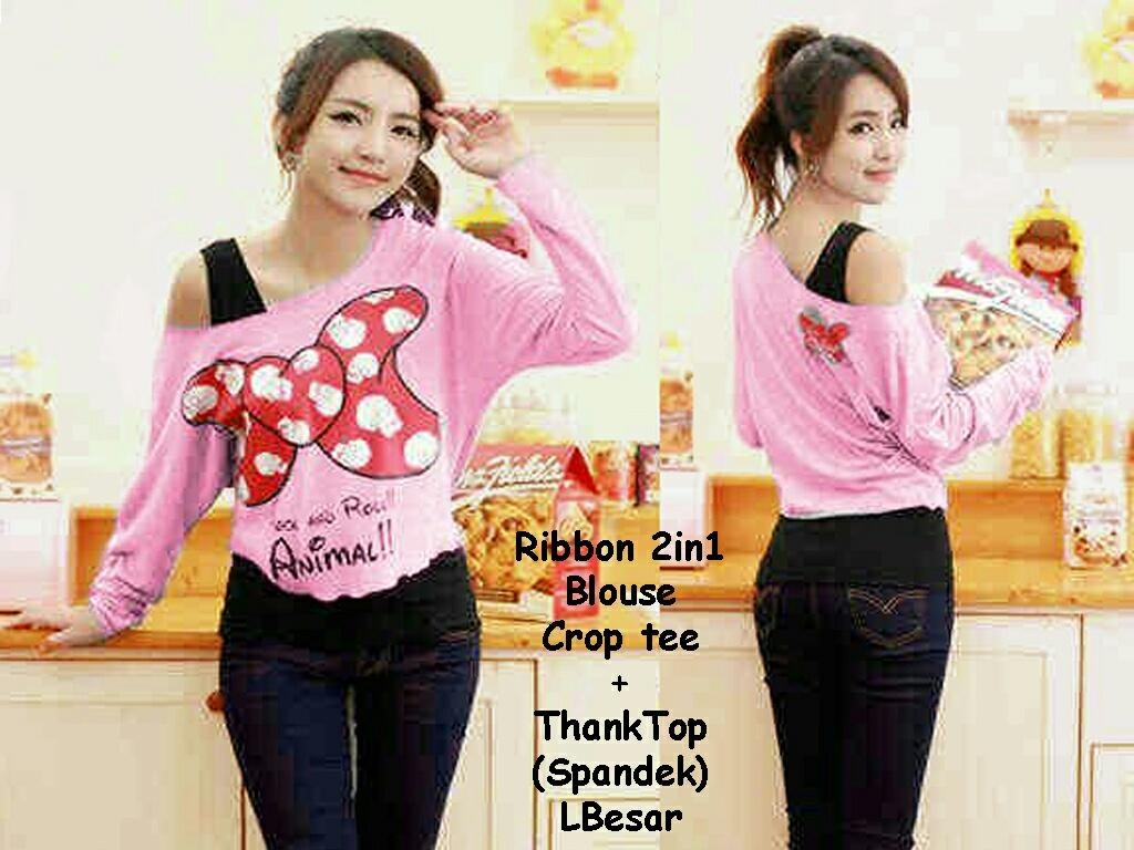Jual Blouse 2 In 1 Croptee Minnie Big Ribbon - 12660