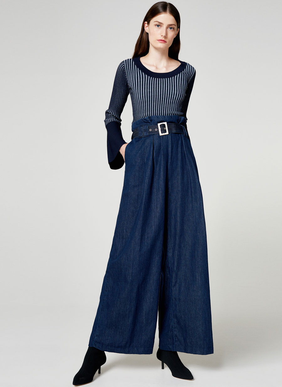 Uterque leading the way with a very directional line up including these wide, cinched waist jeans
