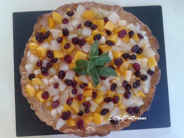 Tareta de frutas a la hierbabuena