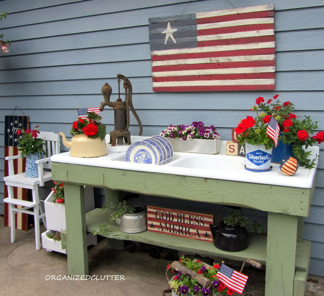 Red White & Blue 4th of July Potting Bench www.organizedclutterqueen.blogspot.com