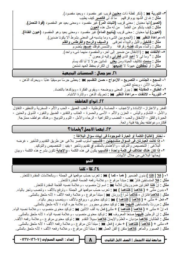 مراجعة ليلة امتحان اللغة العربية للصف الاول الثانوي ترم ثاني أ/ السيد السحراوي 8