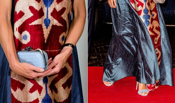 Queen Maxima wore Gianvito Rossi Lola frayed denim sandals and carried Bottega Veneta Glimmer Knot Clutch