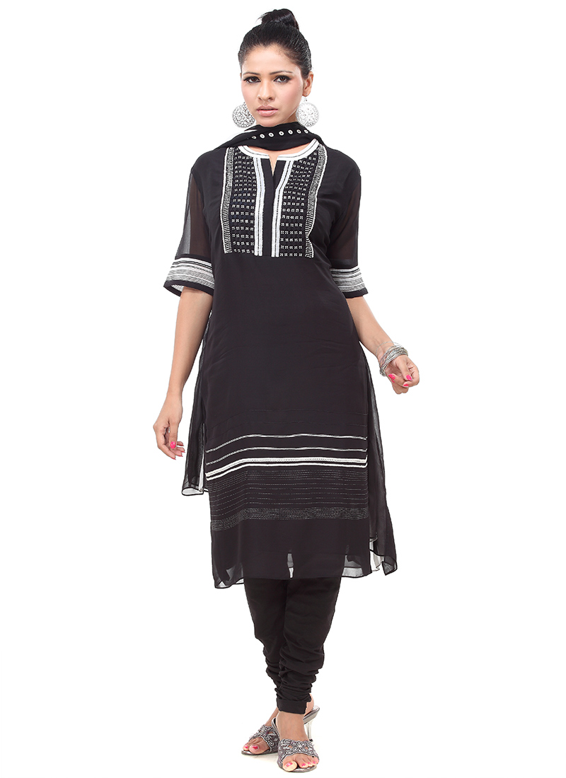 Black AM PM Designer Churidar Suit