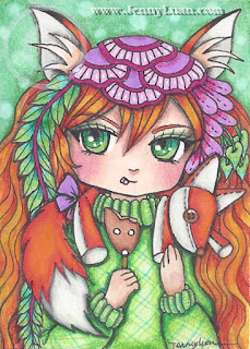 original ACEO art card anime foxy girl