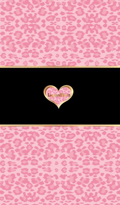 Leopard heart pink