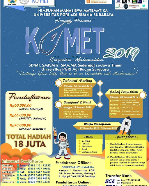 Lomba/Kompetisi Matematika (KOMET) 2019 Pelajar Se-Jawa Timur