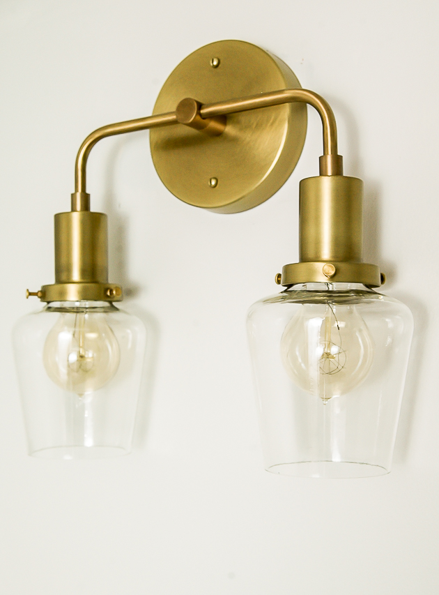 Schoolhouse electric brass sconce light